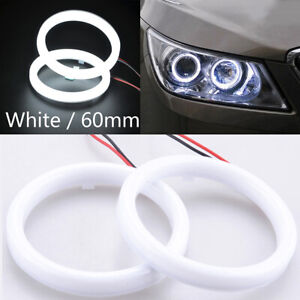 2pcs 60mm DRL COB LED Angel Eyes Halo Ring Fog Headlight Lamp Light White