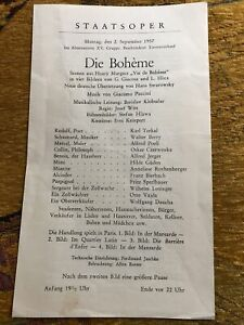 Vienna State Opera La Boheme Programme 1957 Hilde Guden Karl Terkal Walter Berry