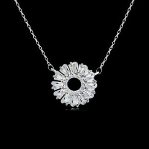 Delicate Cubic Zirconia Small Daisy Flower Necklace Pendant Platinum plated