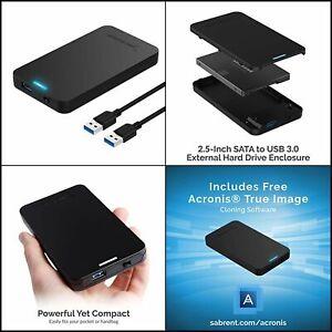 Sabrent 2.5 Inch SATA to USB 3.0 Tool Free External Hard Drive Enclosure NEW