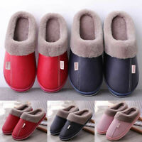 Winter Men Women Slippers Indoor Outdoor Mules Plush Lined Warm House Shoes Size