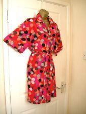 8 PREEN BRIGHT PINK SILK PENCIL MINI SHIRT DRESS KIMONO RETRO 70'S 80'S PARTY