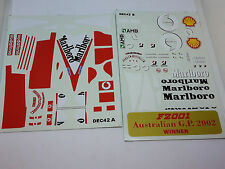 ADESIVI STICKERS BBR DECALS DEC42 B A DECALCOMANIA FERRARI F2001 1/18 WINNER AUS