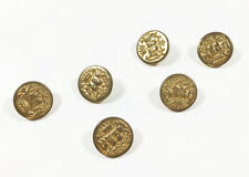 Set 6 Vintage Brass Coat of Arms Shield Dragons Crown Buttons Nice Gold Color!