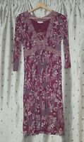 White Stuff ~ Beetroot Stretch Viscose Floral Dress ~ Size 10.