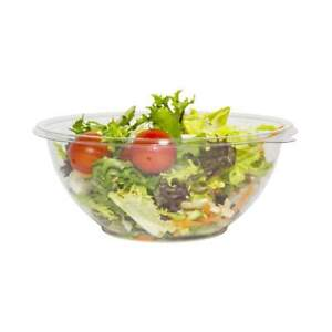 Pack of 50 CLEAR 18OZ PLASTIC DISPOSABLE SALAD BOWLS FLOWER SHAPED WITHOUT LIDS