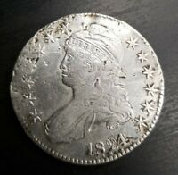 1824/1 Capped Bust Half Dollar O 101 Overdate Very Fine VF or XF Dets Damaged