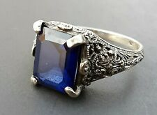 Beautiful Vintage Sterling Filigree Paste Sapphire Ring Size 8