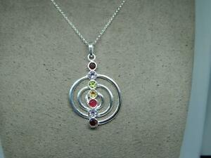 Sterling Silver 925 Spiral Pendant with Multi Colour Cubic Zirconia, 16'' Chain