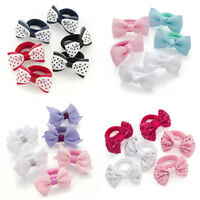 6x GIRLS HAIR BOWS BOBBLES PONIOS BABY LITTLE GIRLS HAIR BOWS PINK GLITTER SMALL