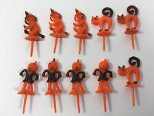 Vintage Halloween Plastic Cupcake Picks Toppers Cake Decorations Set of 10