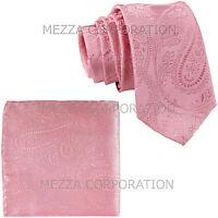 "New Vesuvio Napoli Men's 2.5"" skinny necktie & hankie set paisley prom pink"