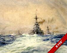 ROYAL NAVY HMS IRON DUKE WWI WORLD WAR 1 MILITARY ART PAINTING REAL CANVAS PRINT