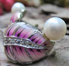 Ohrringe, Email & Perlen, Silber,