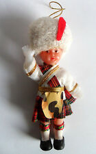 "Vintage Scottish Soldier Doll Plastic Christmas Ornament 4 ""Jointed Arms Vintage"
