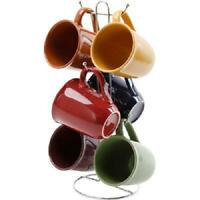 Coffee Mug Set of 6 with Hanging Stand Rack Multi Color Tea Handle Drinking Cups