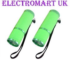 2 X 9 LED ULTRA BRIGHT GLOW IN THE DARK GREEN TORCHES INCLUDING BATTERIES