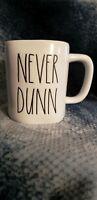 RAE DUNN Artisan Collection NEVER DUNN Mug By Magenta Excellent Condition