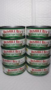 BUMBLE BEE CHUNK LIGHT TUNA IN WATER (PACK OF 10 CANS) NET WT 5 OZ EACH 01/2023