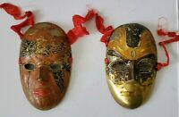 "Lot 2 Vintage Brass MARDI GRAS MASKS 6""  Made in India Party Costume Painted"