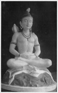 RPPC Shiva Statue, Snake Hindu God c1910s Vintage Photo Postcard