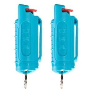 POLICE MAGNUM Keychain Pepper Spray Self Defense- 2 TEAL .50oz Injection Molded
