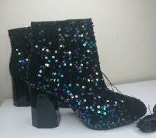 PRIMARK SEQUIN FABRIC BLACK ANKLE BOOT SIZE UK 7 NEW ZIP ANKLE COMFY