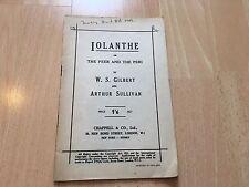 Iolanthe el par y el Peri Vintage partitura vocal W S Gilbert Sullivan Chappell