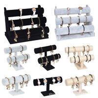 3 Colors Velvet Jewelry Rack Bracelet Necklace Stand Organizer Holder Display