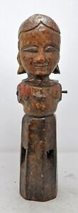 Antique Wooden Gangaur Woman Figurine Original Old Hand Carved Fine Collector's