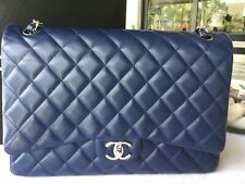 CHANEL Caviar Quilted Maxi Double Flap Navy Blue- SHW-Pre Owned-Ver Authentic
