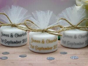 Personalised Vintage Wedding Favours Tealight Candles Heart & Rings Set 10,15,50