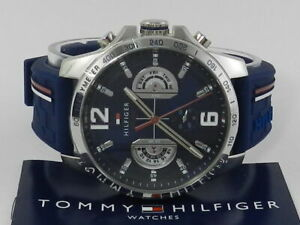 Tommy Hilfiger Men's Navy Silicone Strap Watch 46mm