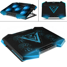 5 Fan Laptop Cooling Pad Gaming Laptop Cooler Led Dual USB Adjustable Stand BLUE