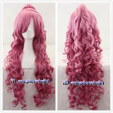 Megurine Luka Vocaloid Long Pink Curly Cosplay Wig With Clip Ponytail Wigs