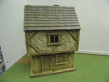 28MM PMC GAMES ME04 (PAINTED) TWO STOREY HOUSE SLATE ROOF - MEDIEVAL ECW