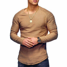 Men's Slim Fit O Neck Long Sleeve Muscle Tee T-shirt Casual Tops Henley Shirts
