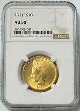 1911 GOLD US $10 INDIAN HEAD EAGLE COIN NGC ABOUT UNC 58