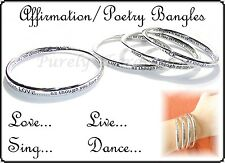 POSITIVE QUOTE POETRY BRACELET BANGLE~Silver~Nickel Free~Dance~Live~Love~Sing