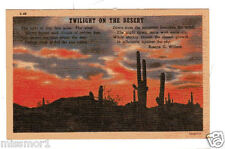 Vintage 1940s Postcard Twilight of the Desert poem cactus sundown