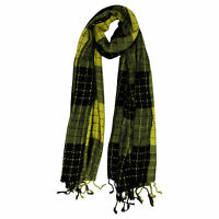 Yellow & Black Plaid Checkered Design Rectangle Women's Hijab Scarf with Tassles