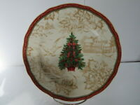 """222 Fifth Dinnerware Christmas Toile Pattern 8 3/4"""" Luncheon / Salad Plate Set 3"""
