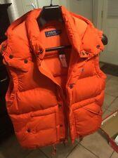 NWT $245 Polo Ralph Lauren Men's Elmwood Hooded Down Puffer Vest Orange Sz M Med