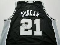TIM DUNCAN / AUTOGRAPHED SAN ANTONIO SPURS BLACK CUSTOM BASKETBALL JERSEY / COA