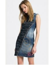 BNWT Desigual Women's Dress Cherise Denim Blue slanted Vest Sz 36 XS Midi SUPER