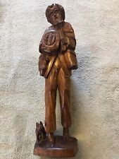 "Vintage Wood Hand Carved Travelingl Man-dog Sculpture Figurine Folk Art 15""Tall"