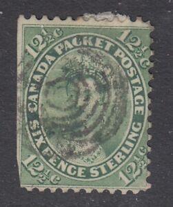 "Canada Scott #18  12 1/2 cent Queen Victoria yellow green ""First Cents"""