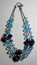 Trifari Double Strand Necklace Aqua and Silver Glass Beads Rhinestones