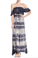 YOUNG FABULOUS & BROKE Ayana Off Shoulder Ruffle Tie Dye Maxi Dress Blue M $178