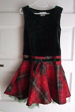 Girls Bonnie Jean 7 Tartan Plaid Velvet Metallic Party Formal Holiday Dress